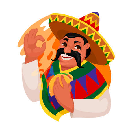Cartoon Color Character Person Man Eating Taco Mexican Food Concept. Vector