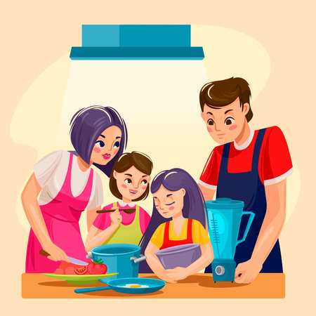 Cartoon Color Characters People Family Cooking Concept. Vector Ilustração