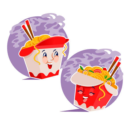 Cartoon Color Character Box Noodles Set. Vector