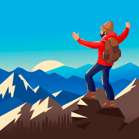Cartoon Color Character Person Man Standing on Cliff Concept. Vector