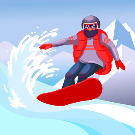 Cartoon Color Character Person Man and Snowboarding Concept. Vector