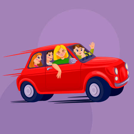 Cartoon Color Characters Group of People Shares Car Concept. Vector
