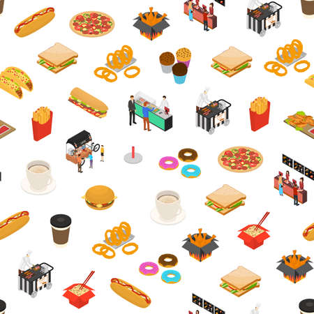 Fast Food Cart Cafe Concept Seamless Pattern Background 3d Isometric View. Vector Vettoriali