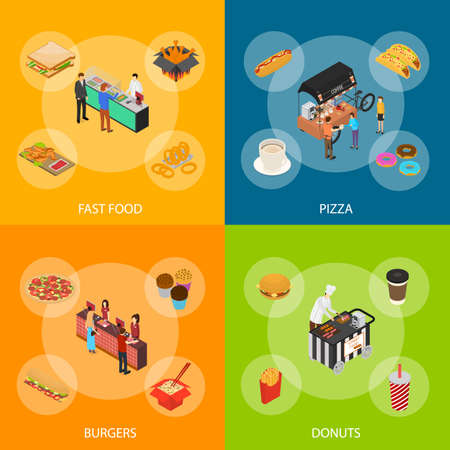 Fast Food Cart Cafe Concept Banner Set 3d Isometric View. Vector