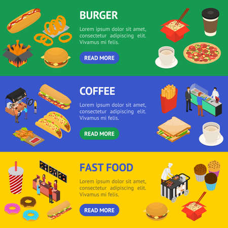 Fast Food Cart Cafe Concept Banner Horizontal Set 3d Isometric View. Vector Vettoriali