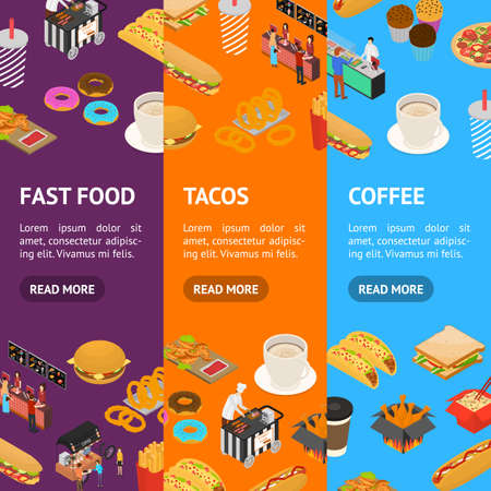 Fast Food Cart Cafe Concept Banner Vecrtical Set 3d Isometric View. Vector Vettoriali