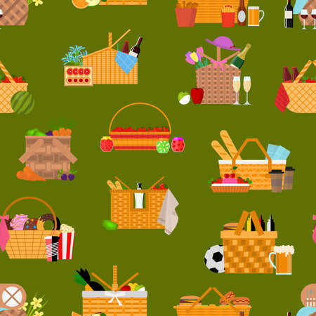 Cartoon Color Picnic Baskets Concept Seamless Pattern Background . Vector