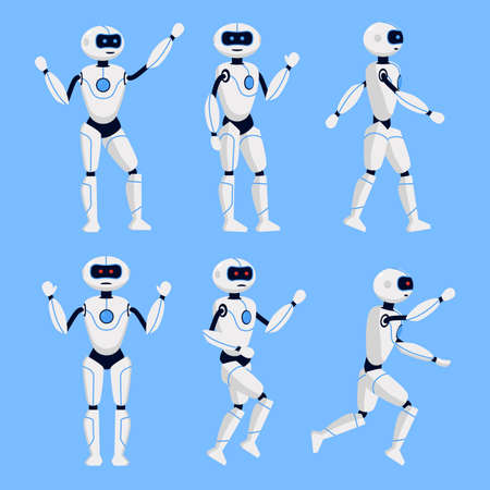 Robot Animation Set on a Blue Background. Vector