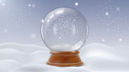 Realistic Detailed 3d Glass Christmas Snowglobe. Vector