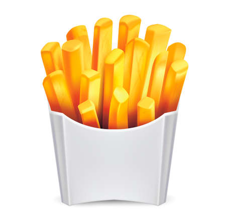 Realistic Detailed 3d Potato French Fries. Vector 矢量图像
