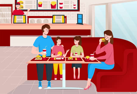 Cartoon Color Characters People Family Eating Fast Food Restaurant Interior Inside Concept. Vector Stock Illustratie