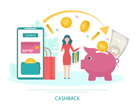 Cartoon Color Character Person and Cashback Money Concept. Vector