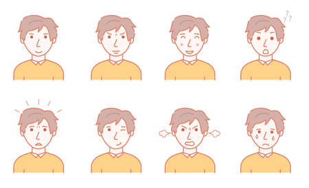 Color Character Person Male and Mans Emotions Concept Contour Linear Style. Vector