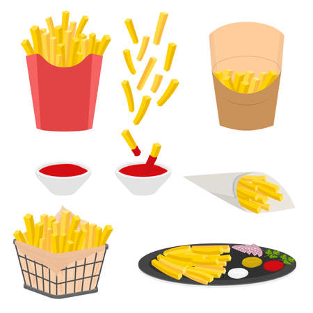 Cartoon Color French Fries Icons Set. Vector