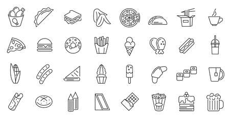 Fastfood Sign Thin Line Icon Set. Vector