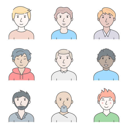 Color Character People Man Concept Contour Linear Style. Vector