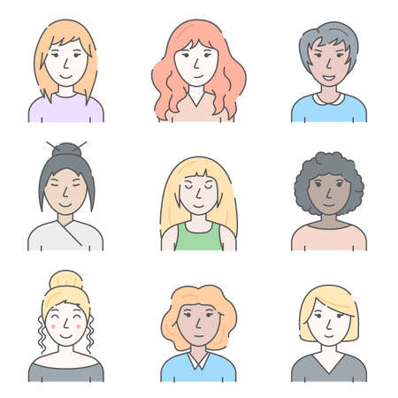 Color Character People Woman Concept Contour Linear Style. Vector