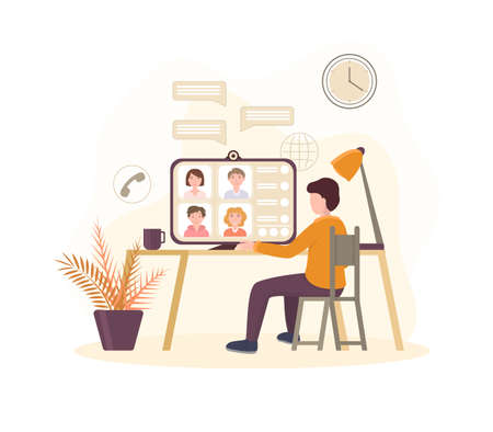 Cartoon Color Characters People and Video Conference Concept. Vector