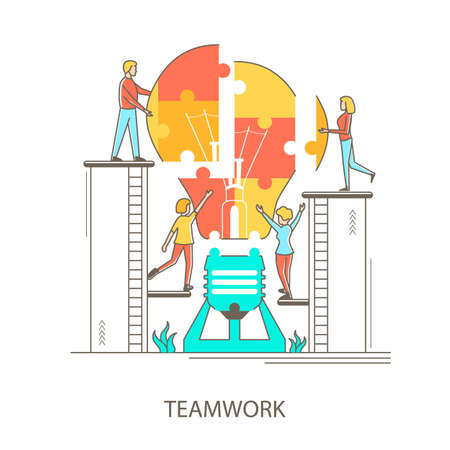 Characters People and Teamwork Concept Contour Linear Style. Vector 向量圖像