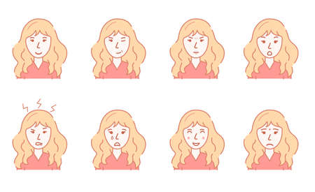 Color Character Person Female and Womans Emotions Concept Contour Linear Style. Vector 向量圖像