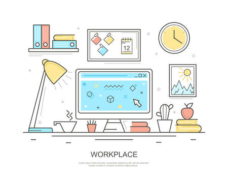 Workplace Computer Concept Contour Linear Style. Vector