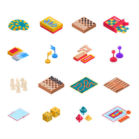 Color Board Games Icons Set 3d Isometric View. Vector 向量圖像