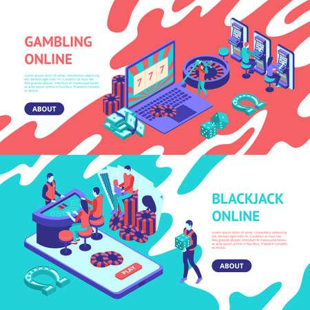 Casino Online Banner Horizontal Set 3d Isometric View. Vector
