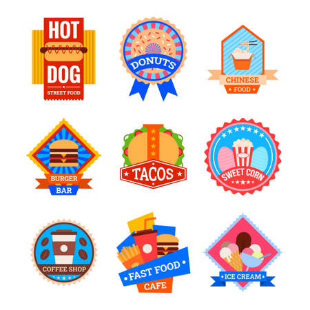 Cartoon Color Coffee Shop and Bistro Fastfood Label Badge Sign Set. Vector 矢量图像