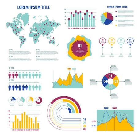 Infographic Dashboard UI Design Elements Set. Vector
