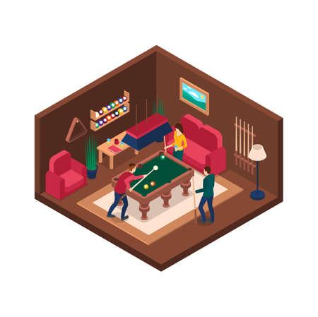 Characters People and Billiard Room Interior with Furniture Isometric View. Vector