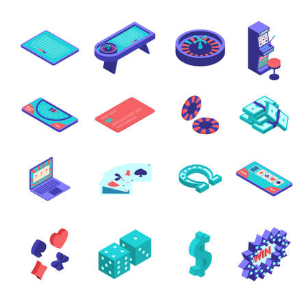 Color Online Casino Gambling Icons Set 3d Isometric View. Vector