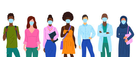 Cartoon Color Characters People Wearing Surgical Masks Concept. Vector