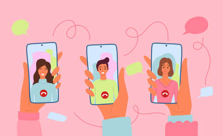 Cartoon Color Characters People and Smartphones with Video Calls Concept. Vector