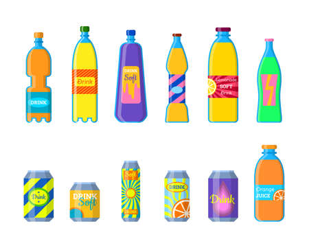 Cartoon Color Different Soft Drinks Bottles Icons Set. Vector 向量圖像
