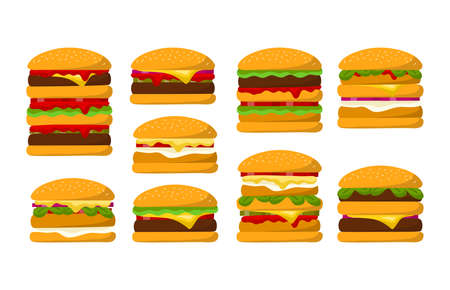 Cartoon Color Different Fresh Burgers Icons Set. Vector