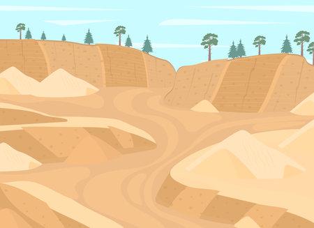 Cartoon Color Mining Stone Quarry Landscape Scene Concept. Vector