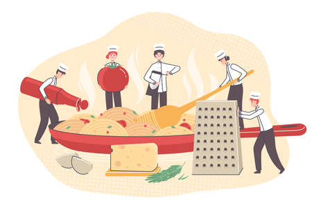 Cartoon Color Tiny Characters People Cooking Concept. Vector