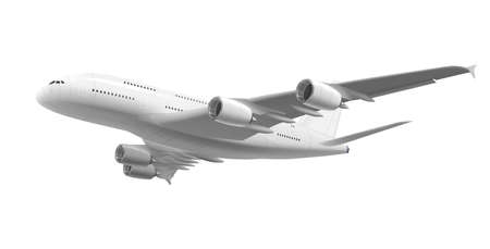 Realistic Detailed 3d White Flying Airliner. Vector