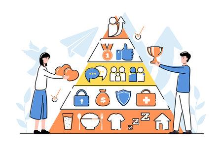 Cartoon Color Characters People and Maslow Hierarchy Concept. Vector Vektoros illusztráció