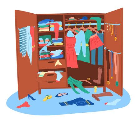 Cartoon Color Messy Wardrobe Concept. Vector