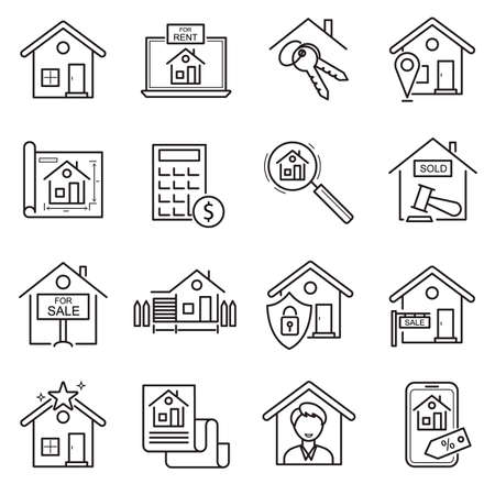 Real Estate Sign Black Thin Line Icon Set. Vector