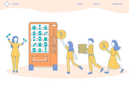 People and Vending Machine Concept Card Landing Web Page Template Contour Linear Style. Vector Ilustração