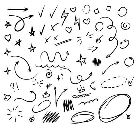 Doodle Swash Black Thin Line Set. Vector