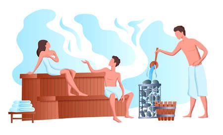 Cartoon Color Characters People and Sauna Bathing Concept. Vector Stock Illustratie