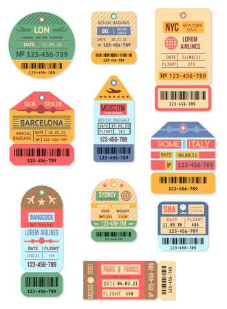 Cartoon Color Baggage Retro Tags Set. Vector Vektorgrafik