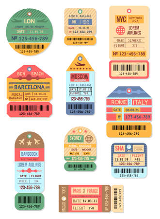 Cartoon Color Baggage Retro Tags Set. Vector Vektorové ilustrace