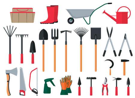 Cartoon Color Various Gardening Items Icon Set. Vector
