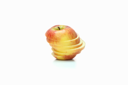 Sliced red Apple on the white background photo