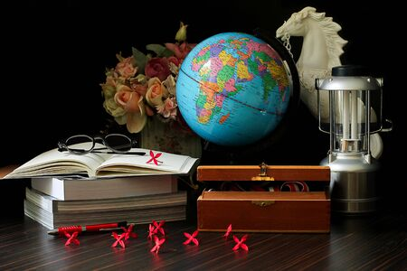 historic world event: Exploration and traveling and book, gobal world Stock Photo