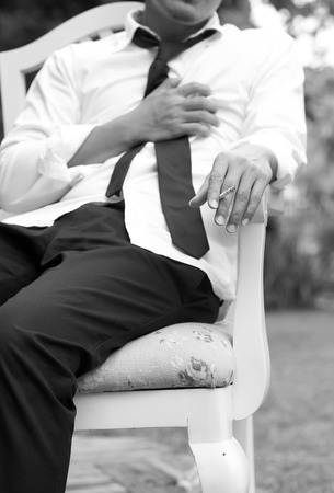 subjective: Businessman got chest pain by smoking a cigarette